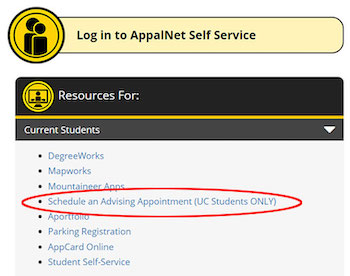 Schedule an Advising Appointment link under Resources for Current Students in AppalNet
