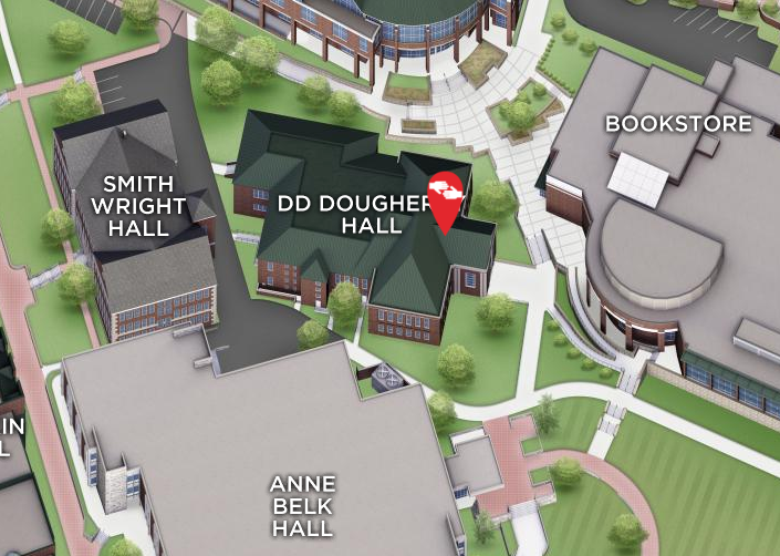 D.D. Dougherty Hall on campus map